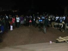 Mulago Church Choir rehearsing outside because of a power cut