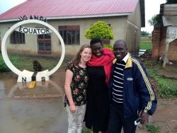 At the Ugandan equator on the way to the wedding